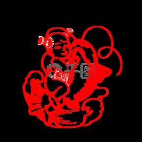 剪纸鲤鱼福娃插画