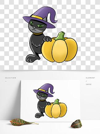 万圣节黑猫南瓜插画