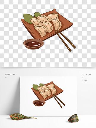 手绘一盘饺子插画