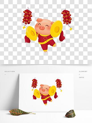 新年小豬之小豬喜慶打銅鑼png透明底千庫原創