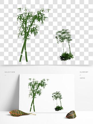 古风意境水墨竹子水彩手绘插画