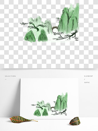 卡通手绘水墨中国风国画青山水墨画手绘免抠png