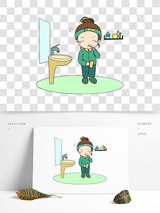 宅在家的小女孩在洗脸刷牙手绘插画