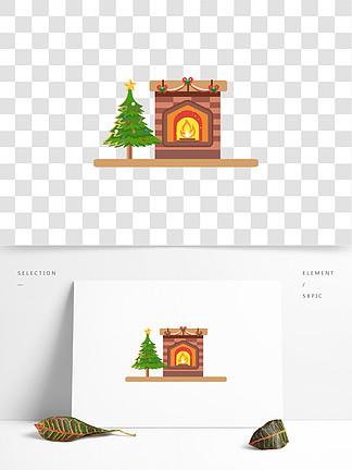 矢量手繪卡通圣誕樹壁爐
