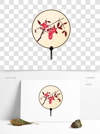 中国风传统扇子鲜花手绘插画