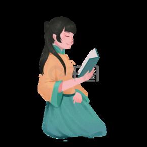 一个正在看书的古代美女卡通手绘图