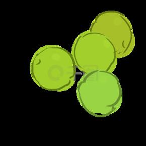 卡通手绘绿色的小圆点点饼子