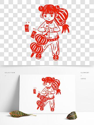 中国风传统习俗拜年手绘插画