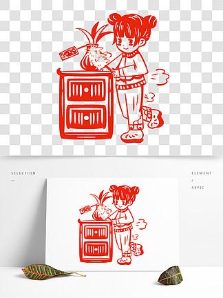 中国风传统习俗扫房子手绘插画