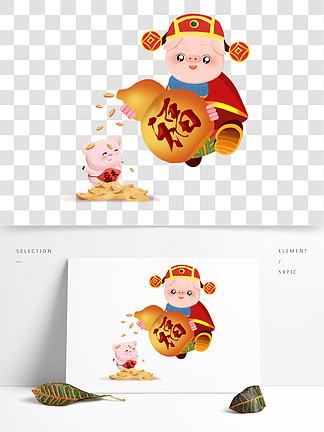 2019新年可爱卡通猪猪财神福字金葫芦贺岁矢量图