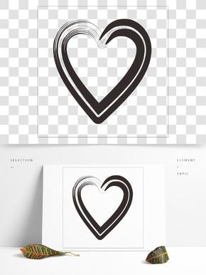 黑色卡通笔刷风格爱心