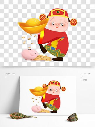 2019新年可爱卡通猪猪财神元宝存钱罐贺岁矢量图