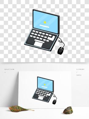 黑色的笔记本电脑插画
