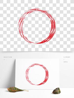 中国风红色笔刷水墨线条