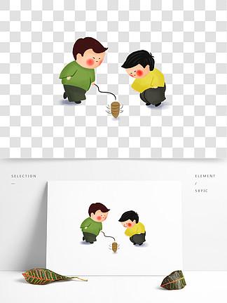 中国风传统游戏怀旧抽陀螺插画