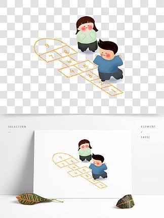 中国风传统游戏跳房子卡通插画