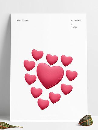 情人节爱心心形告白红色粉色浪漫气球立体免扣