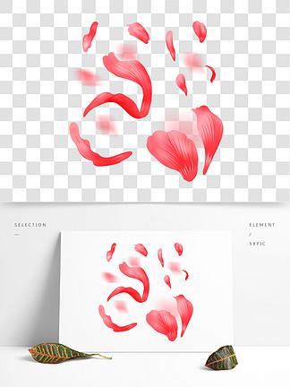 红色漂浮的花瓣插画