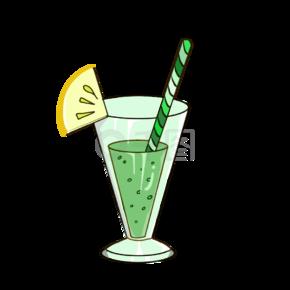 卡通可爱手绘绿色果味酒鸡尾酒杯