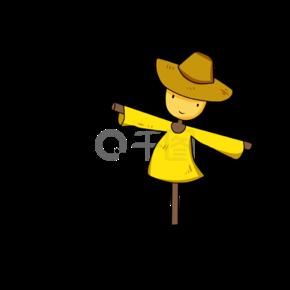 卡通可爱黄色线条稻草人
