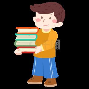 抬着书的小学生免抠PNG素材