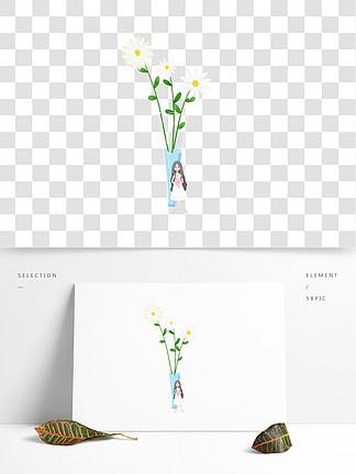 简约手绘花瓶下的女孩插画海报免抠元素