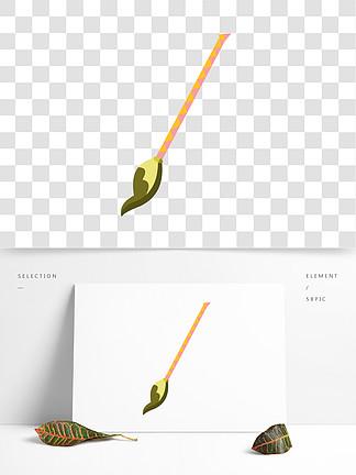 手繪文具黃色花紋矢量毛筆免摳素材