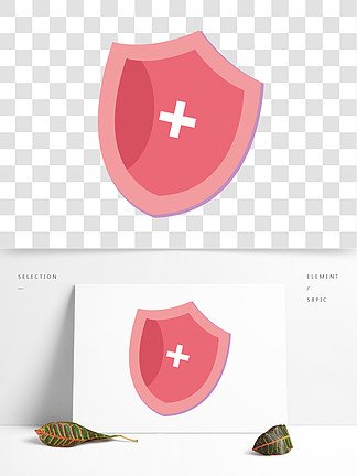 手绘矢量粉色行业盾牌