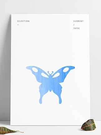蓝色蝴蝶装饰素材