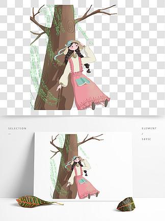 手绘大树下的女孩