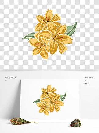 原创手绘矢量百合花装饰元素下载