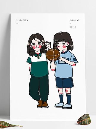运动健身好朋友一起去打篮球卡通手绘人物