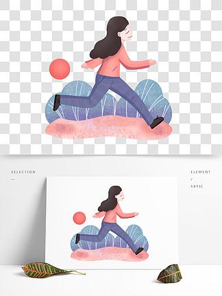 运动健身跑步的人物插画