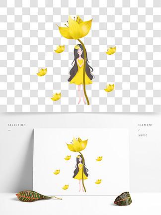 简约手绘郁金香下的女孩插画海报免抠元素