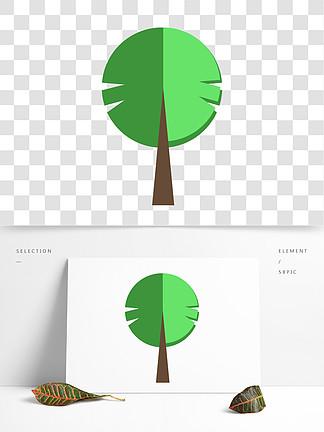 卡通扁平化的绿色植物树免扣图