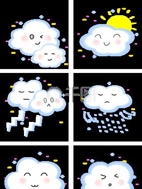 卡通蓝色云朵表情包