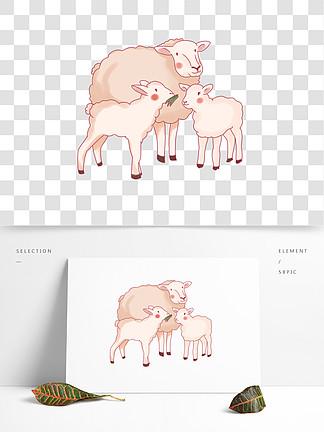 卡通动物绵羊妈妈带着孩子