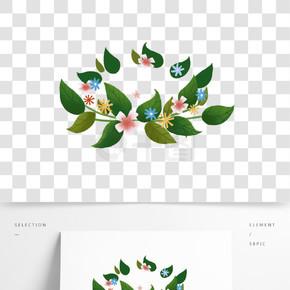 綠色植物樹葉圓環元素