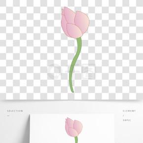 粉色植物荷花元素