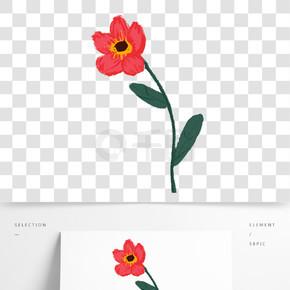 紅色植物花朵元素