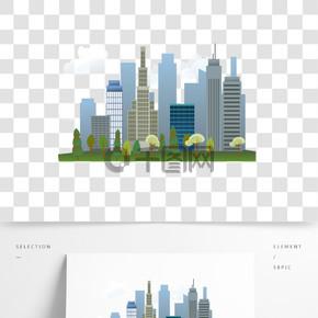 彩色創意立體城市建筑元素