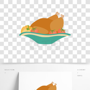 一盤雞腿和蔬菜插畫