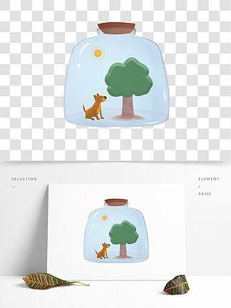 树木和小狗许愿瓶