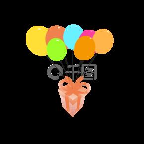 手绘挂着气球的可爱橙色礼物盒矢量图免扣