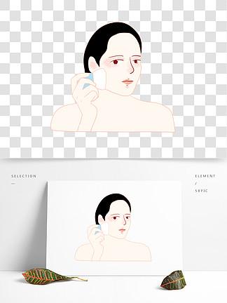 美容护理女生女人人物化妆定妆铺散粉扁平风
