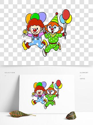 卡通愚人节小丑拿气球png透明底