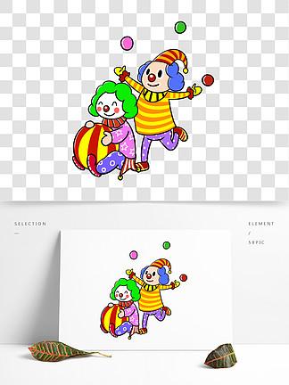 卡通愚人节小丑表演节目png透明底