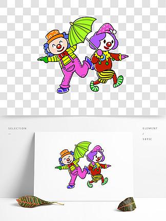 卡通愚人节小丑舞台表演png透明底