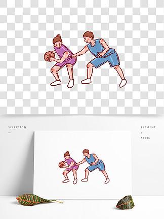卡通矢量免摳可愛打籃球的人物