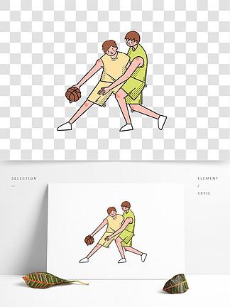 卡通矢量免摳可愛打籃球的男生